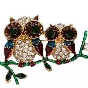 Vintage Inspired Owl Pair on Branch Brooch